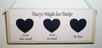 """Weight loss plaque - personalised. 3 hearts - """"loss this week"""", """"loss in total"""" and """"to lose"""" blackboard, chalkboard weight tracker"""