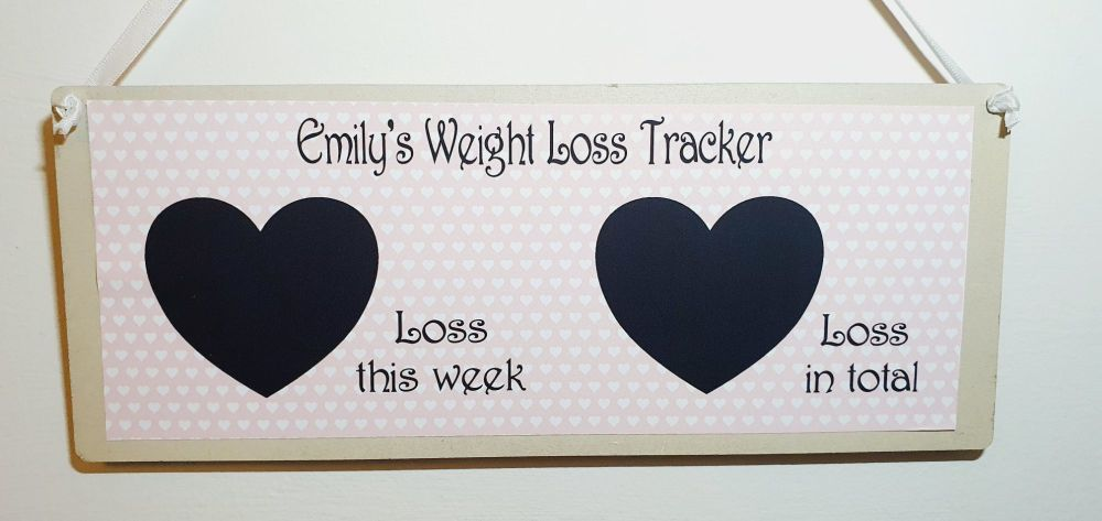 Weight loss plaque - personalised. 2 hearts -