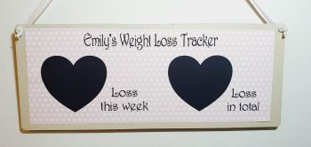 """Weight loss plaque - personalised. 2 hearts - """"loss this week"""" and """"loss in total"""" blackboard, chalkboard weight tracker"""