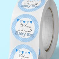 """Baby shower stickers """"welcome to the world baby boy""""  labels"""