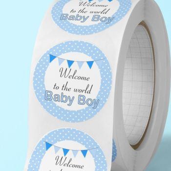"Baby shower stickers ""welcome to the world baby boy""  labels"