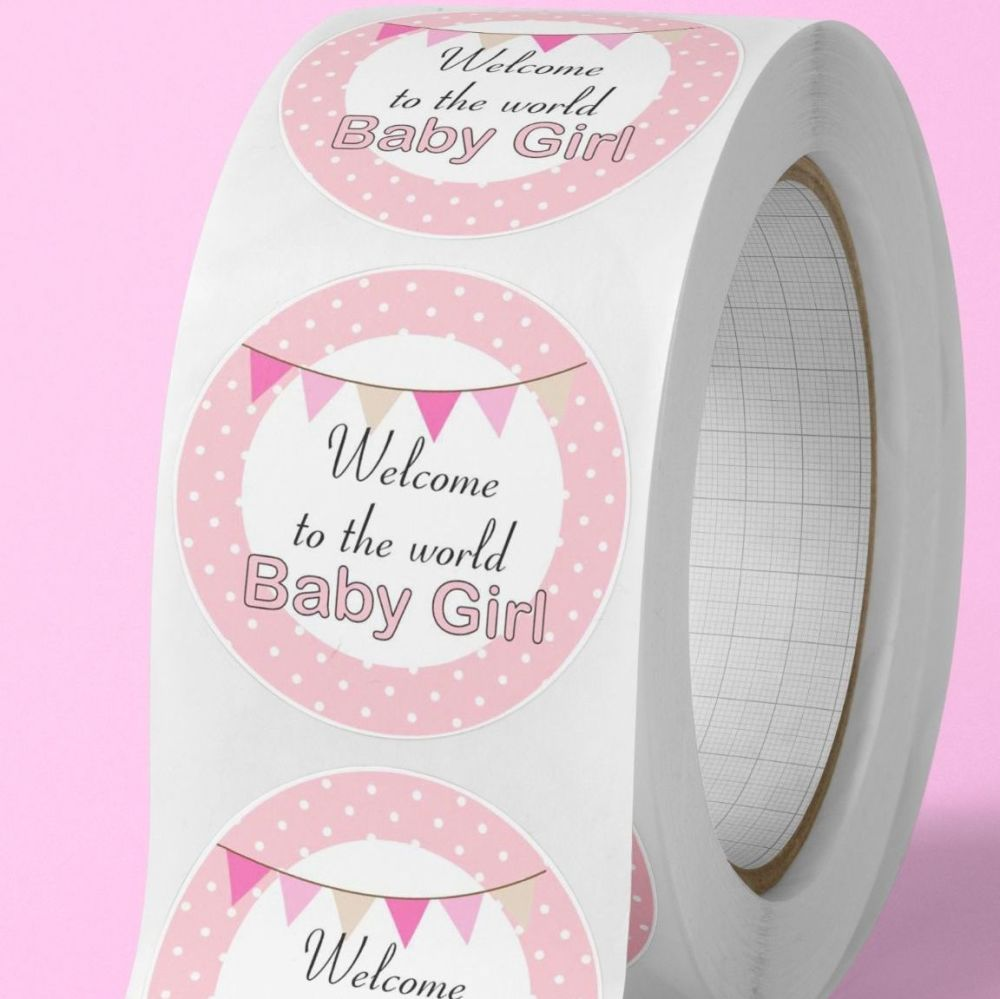"Baby shower stickers ""welcome to the world baby girl""  labels"