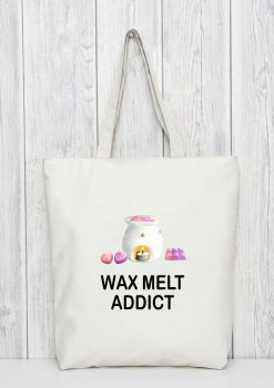 Wax melts addicts tote bag gift. Available in blue or pink tote bag. Bag for life.