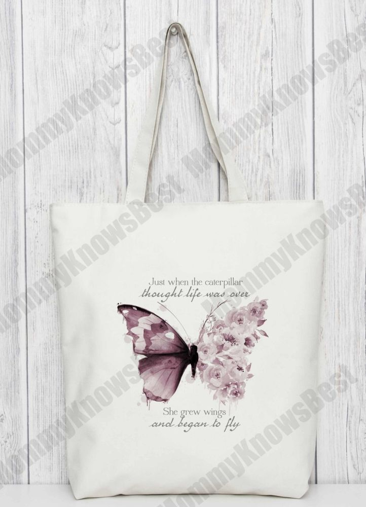 Butterfly tote bag. Bag for life.