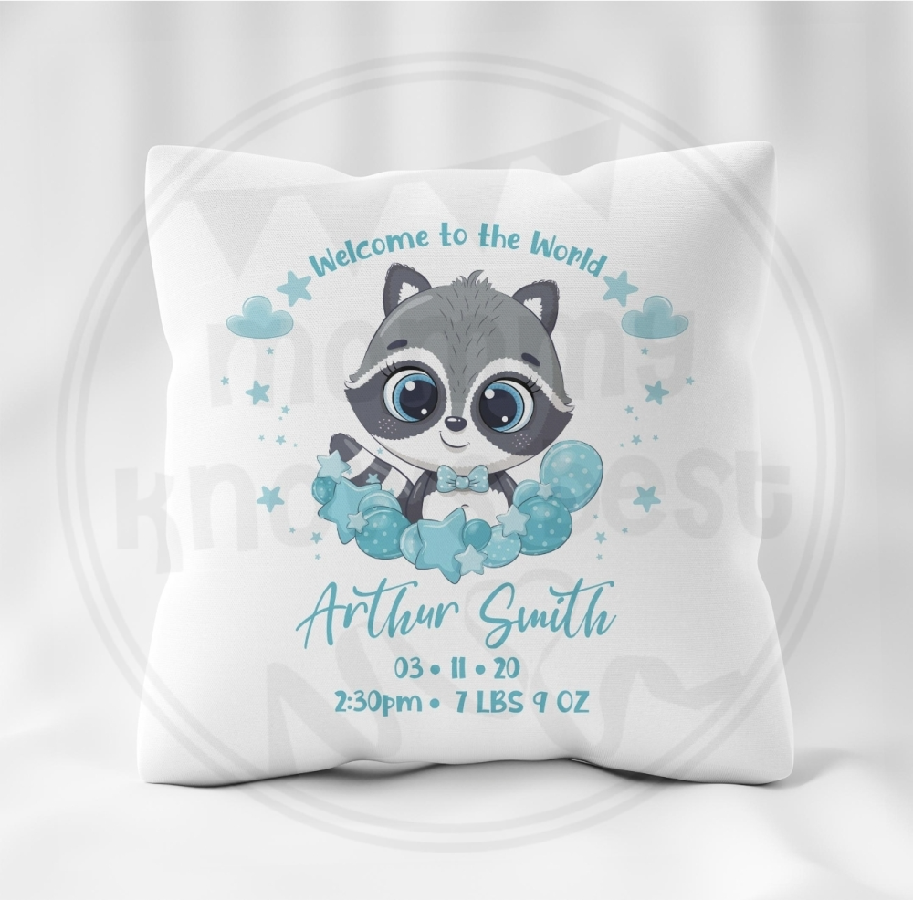 New born baby cushion - personalised with name, date and weight