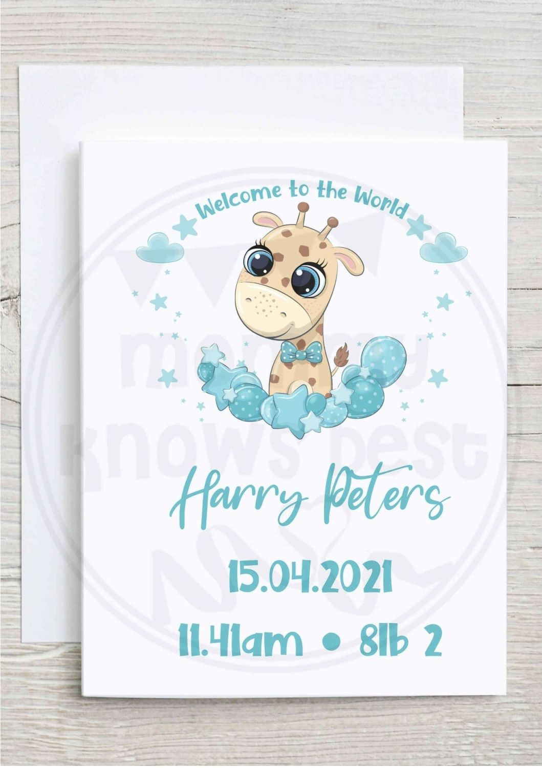 New born baby greetings card - personalised with name, date and weight. Pin