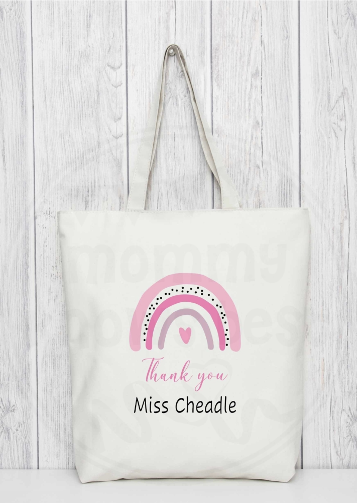Rainbow Thank you teacher tote bag,with personalised teachers name