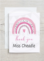 Rainbow Thank you teacher greetings card with personalised teachers name