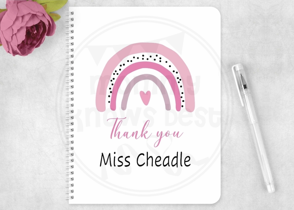 Notebook - Personalised Rainbow Thank you teacher card