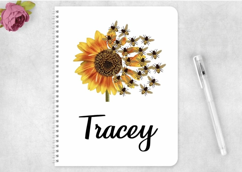 Notebook - personalised sunflower bees  notepad
