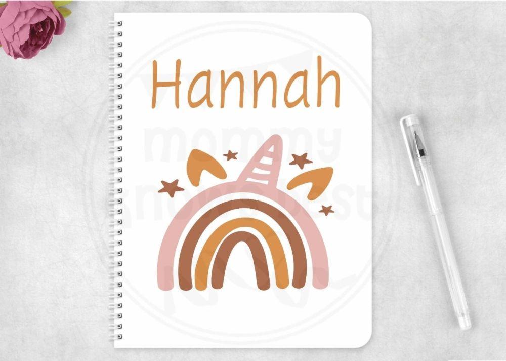 Notebook - unicorn rainbow notepad - personalised