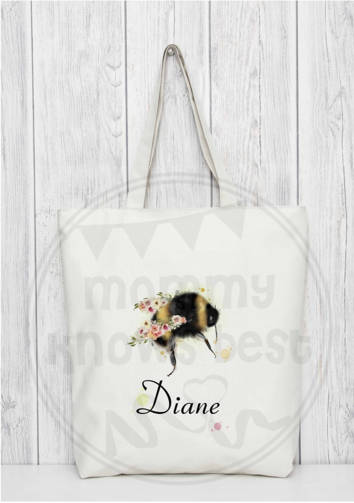 Bee tote bag. Bag for life. Personalised bees