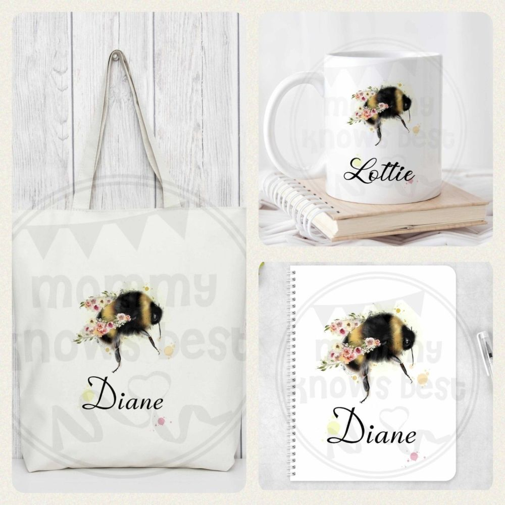 Bees - a5 eco friendly notebook, 10oz mug and reusable tote bag