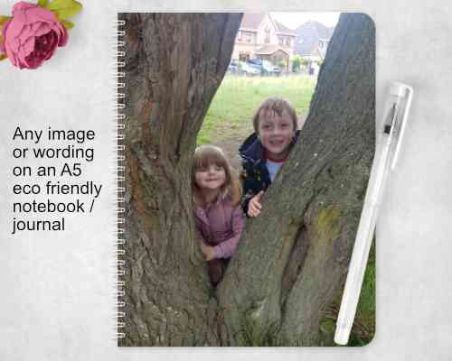 Any PHOTO or Text Notebook - Eco Friendly. Customised picture journal