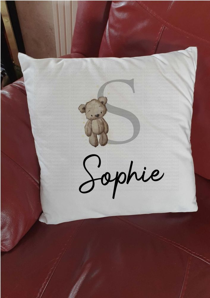 Personalised Teddy bear cushion with initial