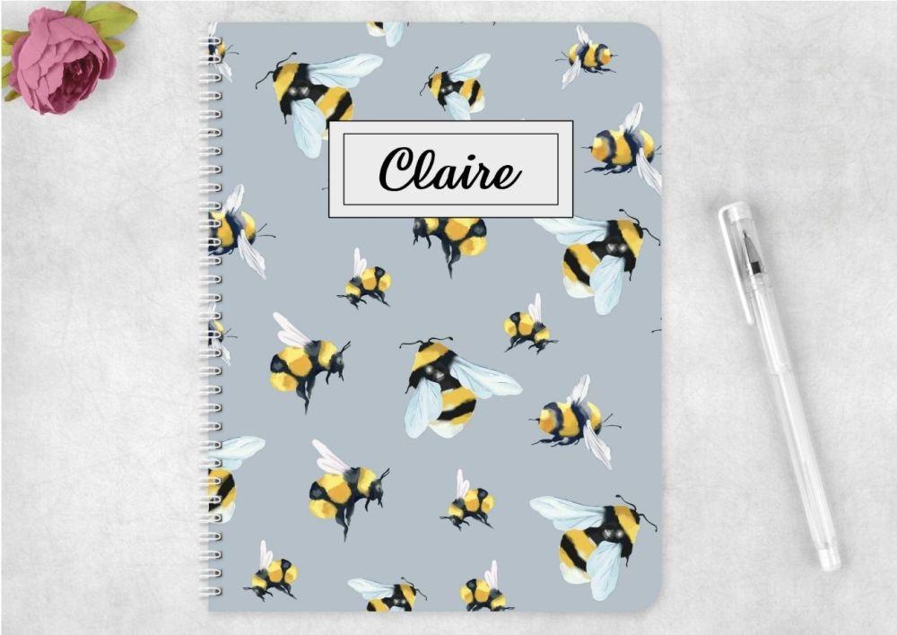 Bees notebook - personalised bee notepad / journal
