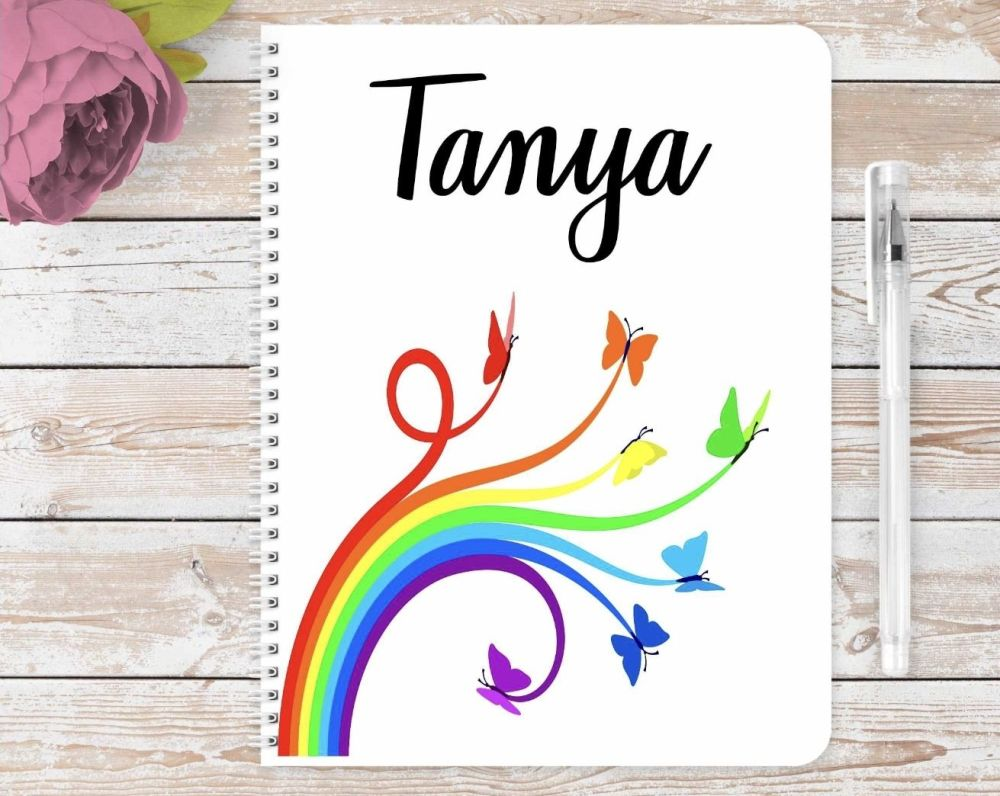 Rainow butterflies notebook - personalised pride / rainbow notepad / journal