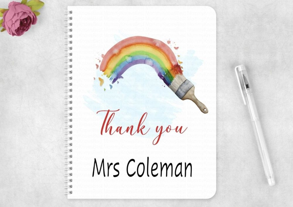 Notebook - Personalised Rainbow  with paint brush Thank you teacher card