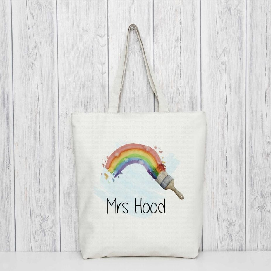 Rainbow paintbrush Thank you teacher tote bag,with personalised teachers name