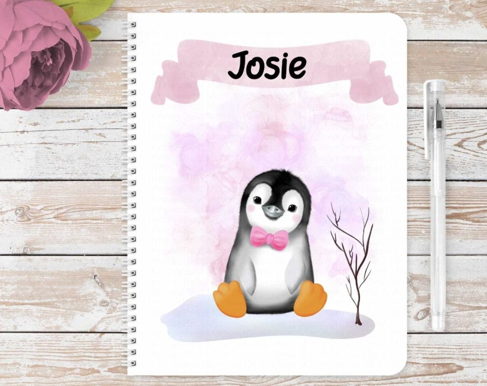 Penguins notebook. Personalised eco friendly notebook - Christmas gift