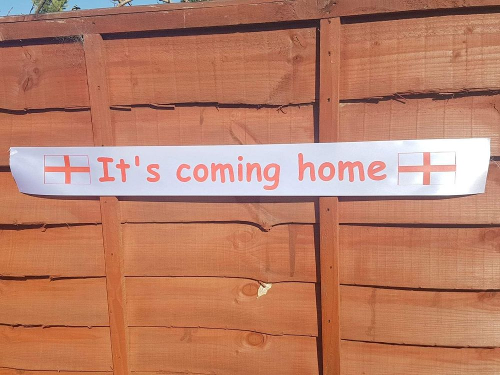 It's coming home England football European cup ribbon banner 80cm x 10cm. FINALISTS
