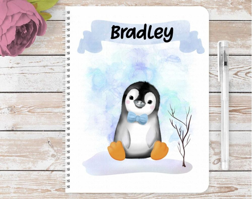 Penguins notebook. Personalised eco friendly notebook - Christmas gift pink
