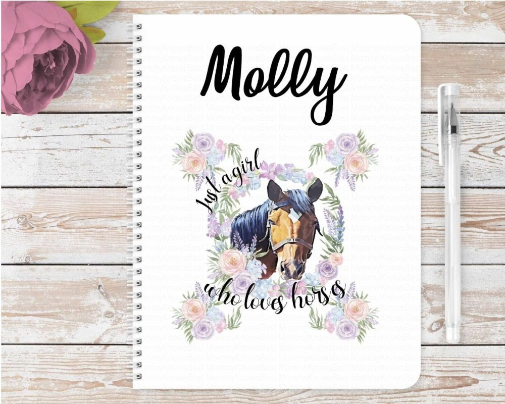 Just a GIRL who loves horses notebook - Brown horse - personalised notepad / journal