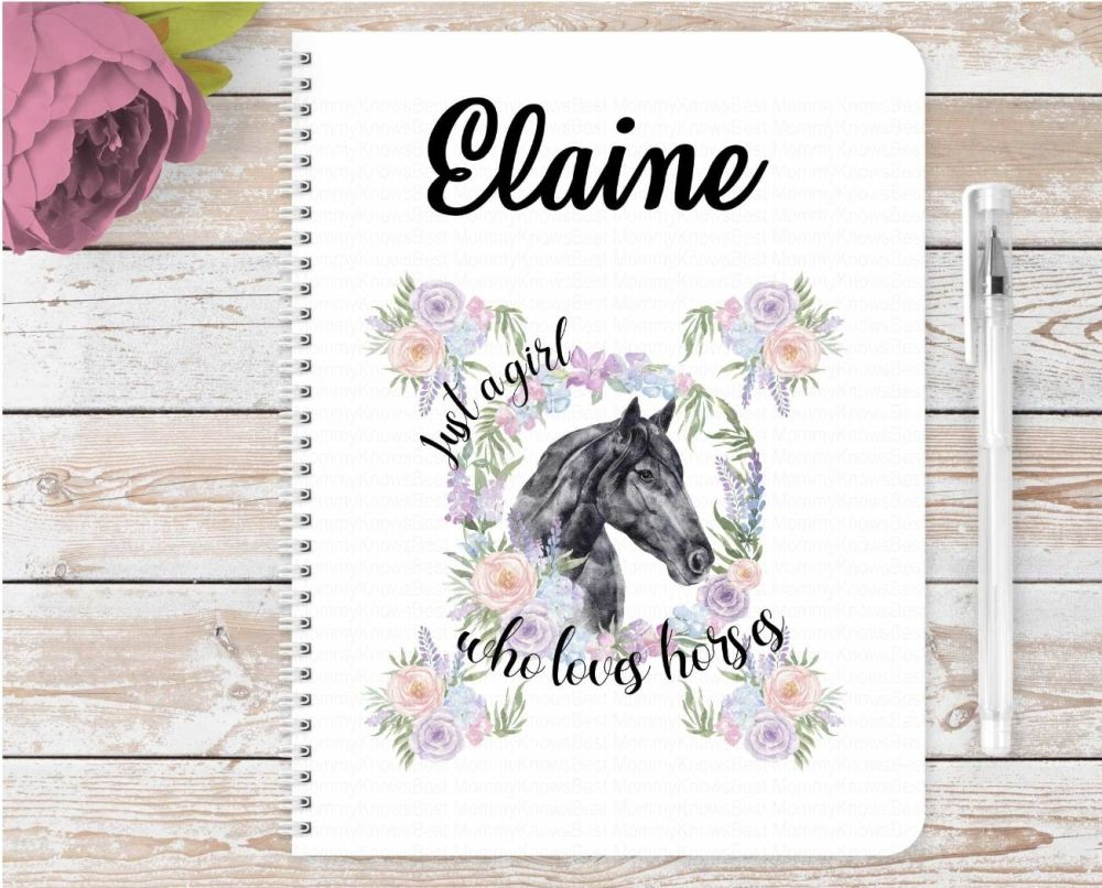 Just a girl who loves horses notebook - BLACK horse - personalised notepad / journal