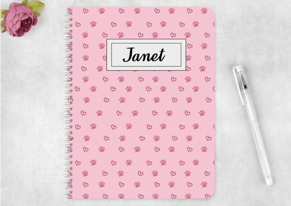 Pink paw and heart notebook - personalised notepad / journal for any pet lo