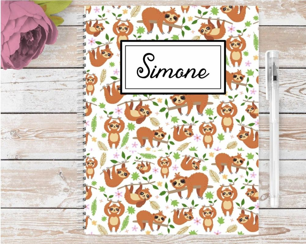 Sloth notebook - personalised notepad / journal for any sloth lover