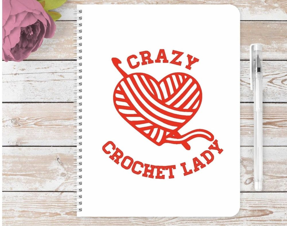 Crazy crochet notebook - personalised notepad / journal