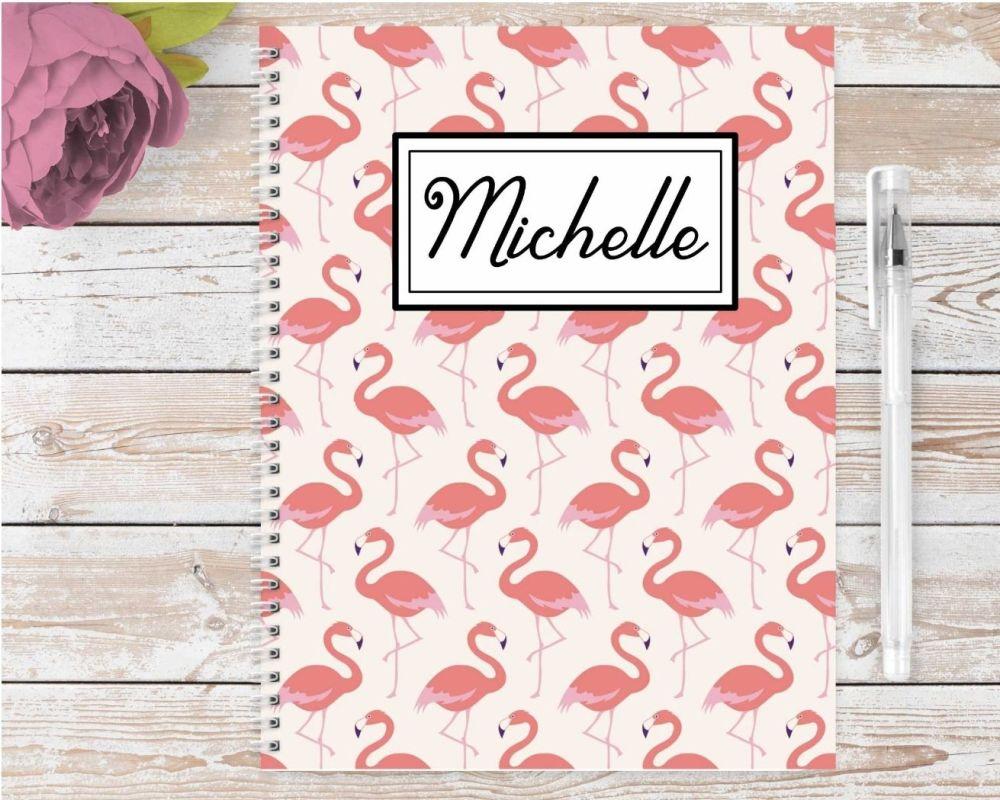 Flamingo notebook - personalised notepad / journal