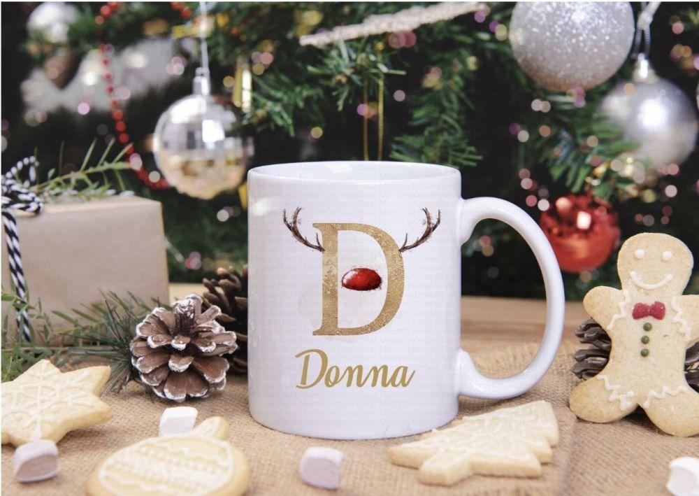 Christmas reindeer initial mug - personalised.