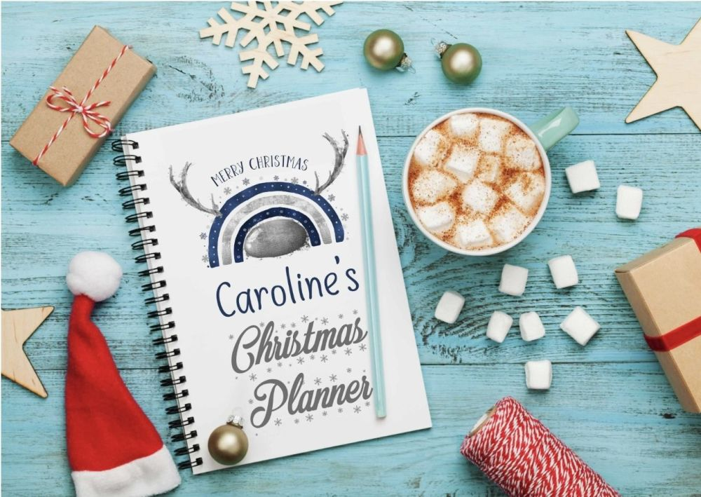 Christmas planner notes, silver and navy reinbow reindeer and antlers  notebook - personalised notepad / journal