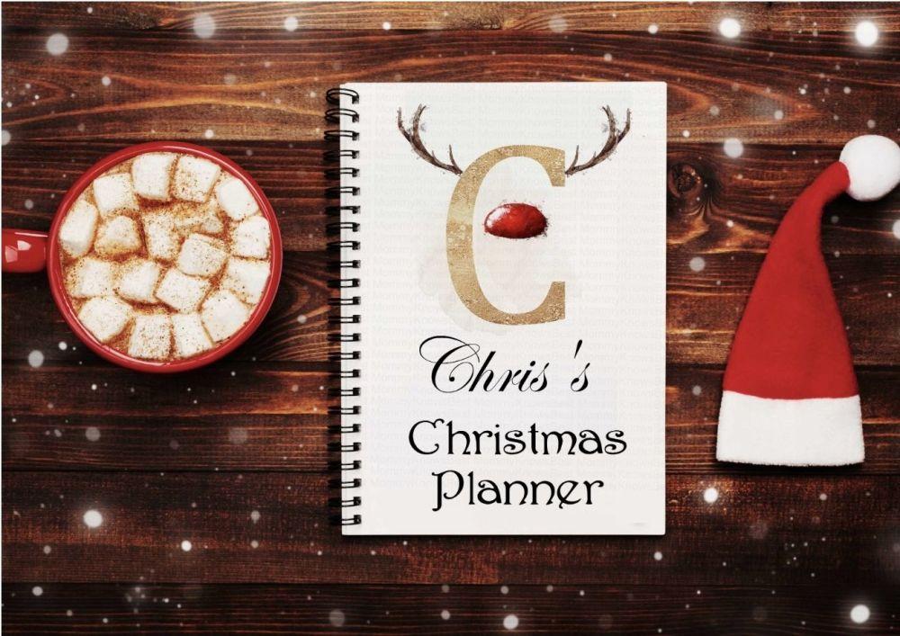 Christmas planner notes, reindeer initials  notebook - personalised notepad / journal