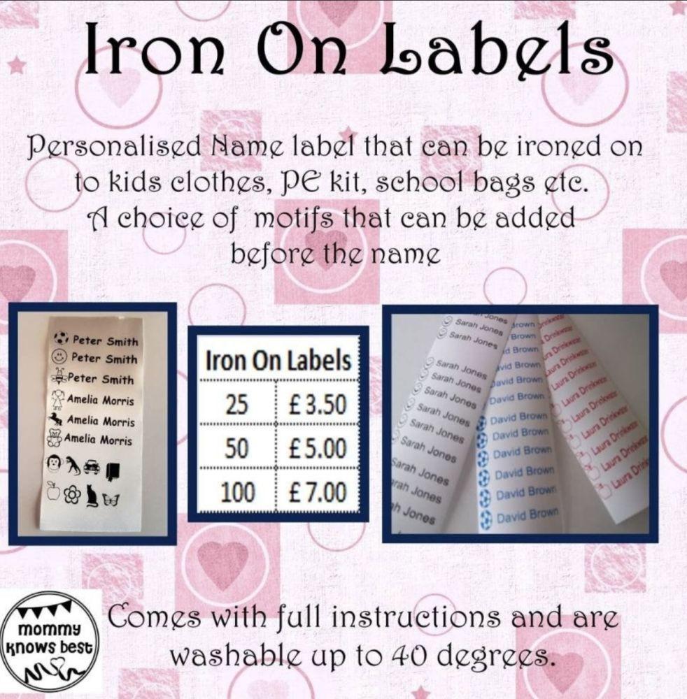Personalised Iron on name labels. School uniform, PE kit, school bag personalised name tags. Motif. Back to school kit.