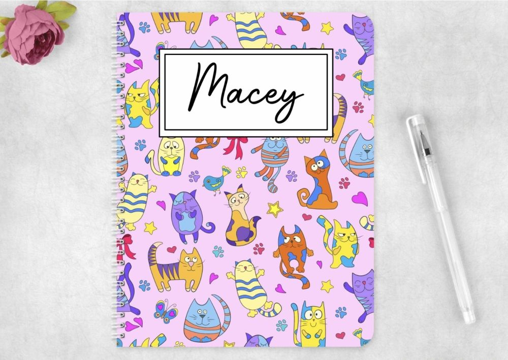 Colourful cats  notebook - personalised notepad / journal.
