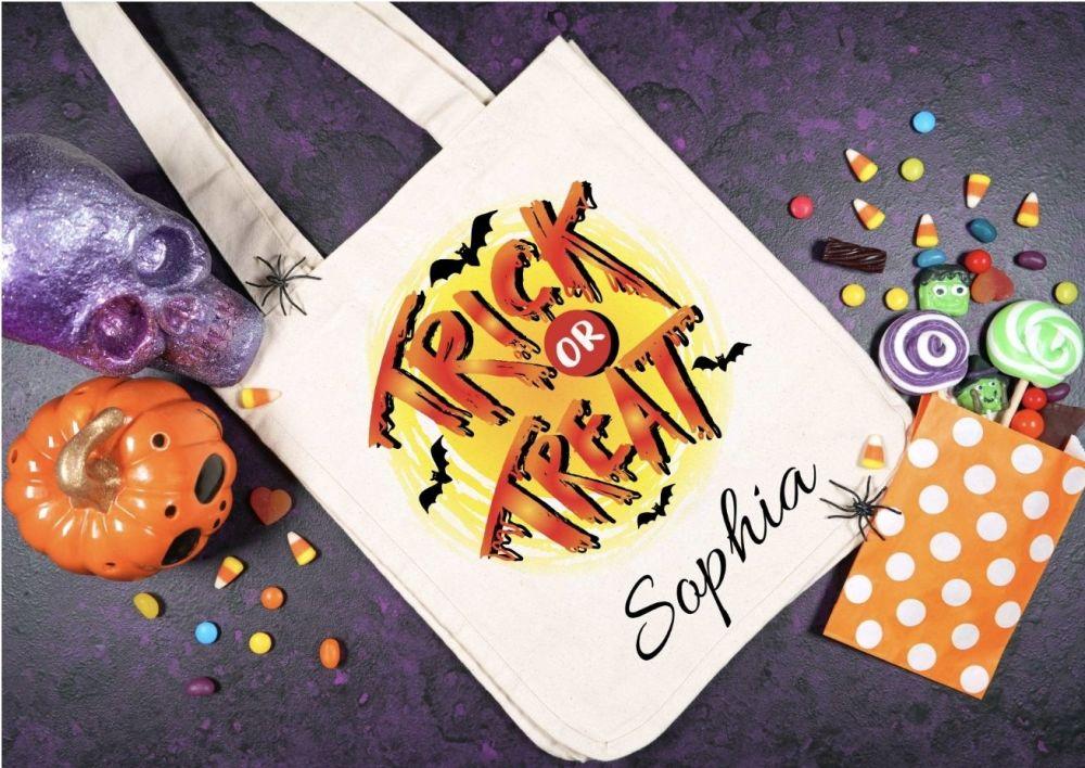 Halloween - trick or treat tote bag. Loot bag