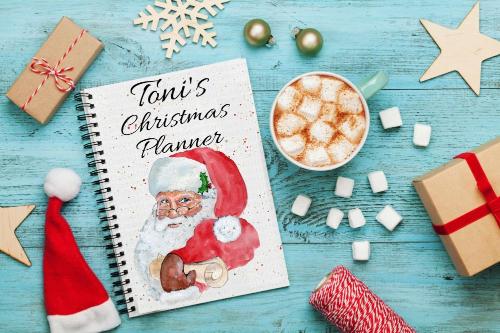 Father Christmas planner notes, Santa claus  notebook - personalised notepad / journal