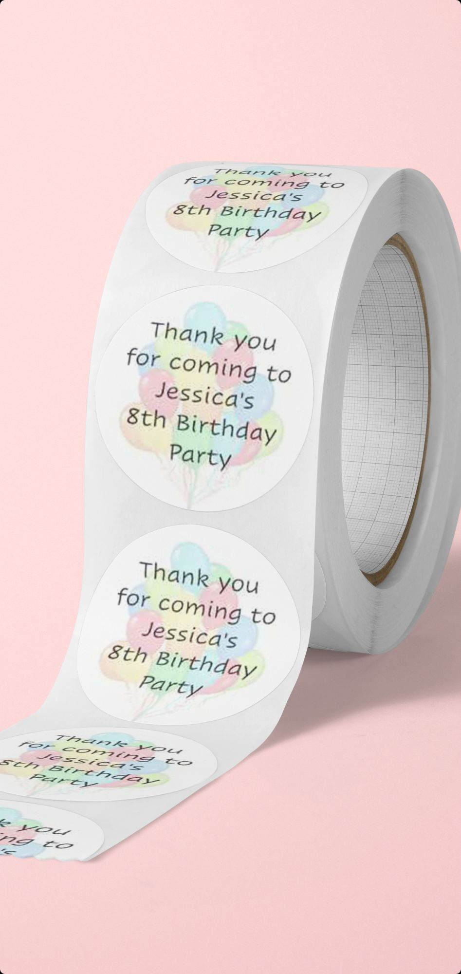 Thank you for coming to my party personalised stickers - balloon design