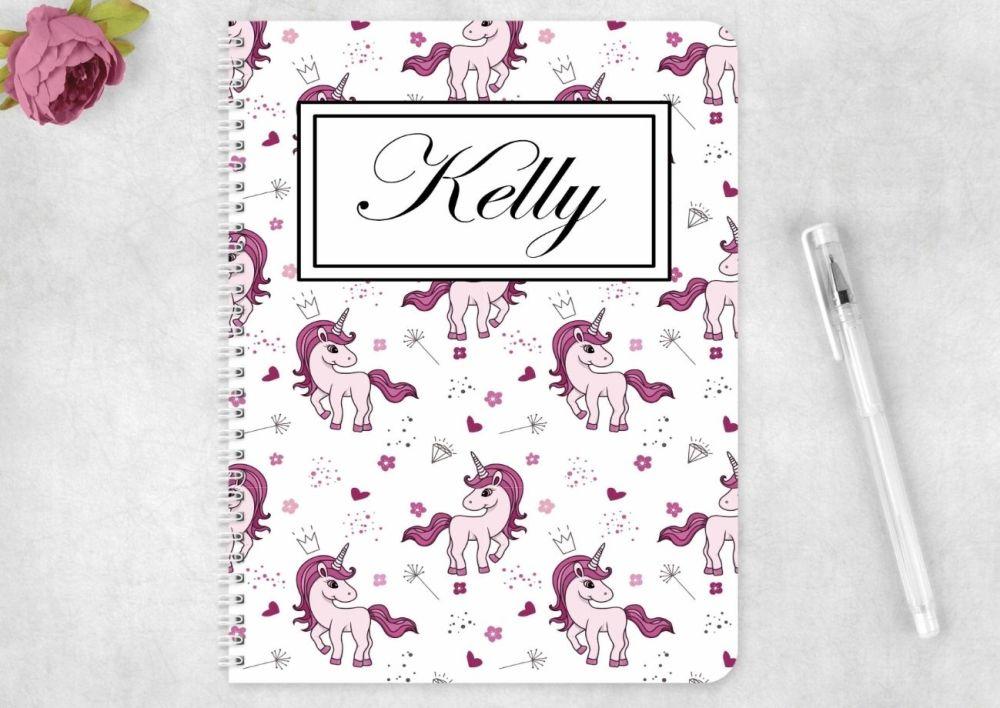 Unicorn notebook - personalised notepad / journal