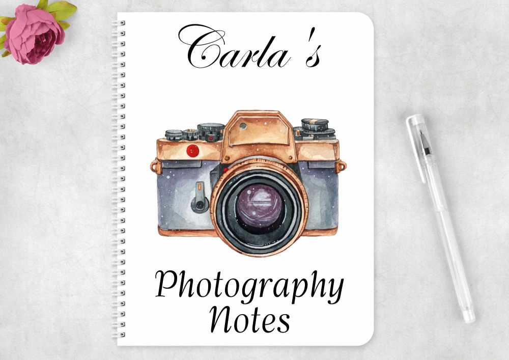 Photography notes notebook, personalised camera journal