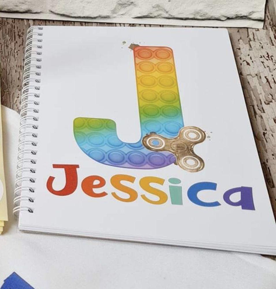 Popit pop it notebook, personalised rainbow fidget journal