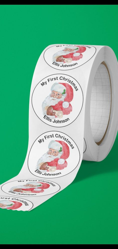 Personalised first Christmas stickers