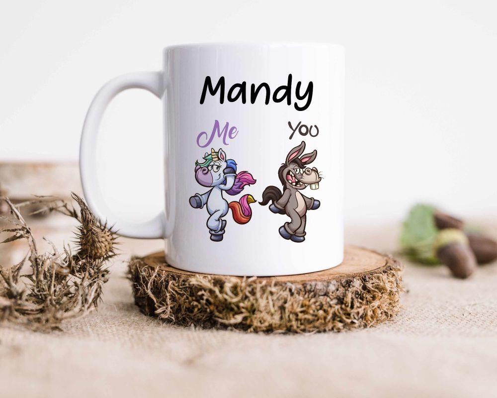 Funny best friend, sister unicorn mug, personalised