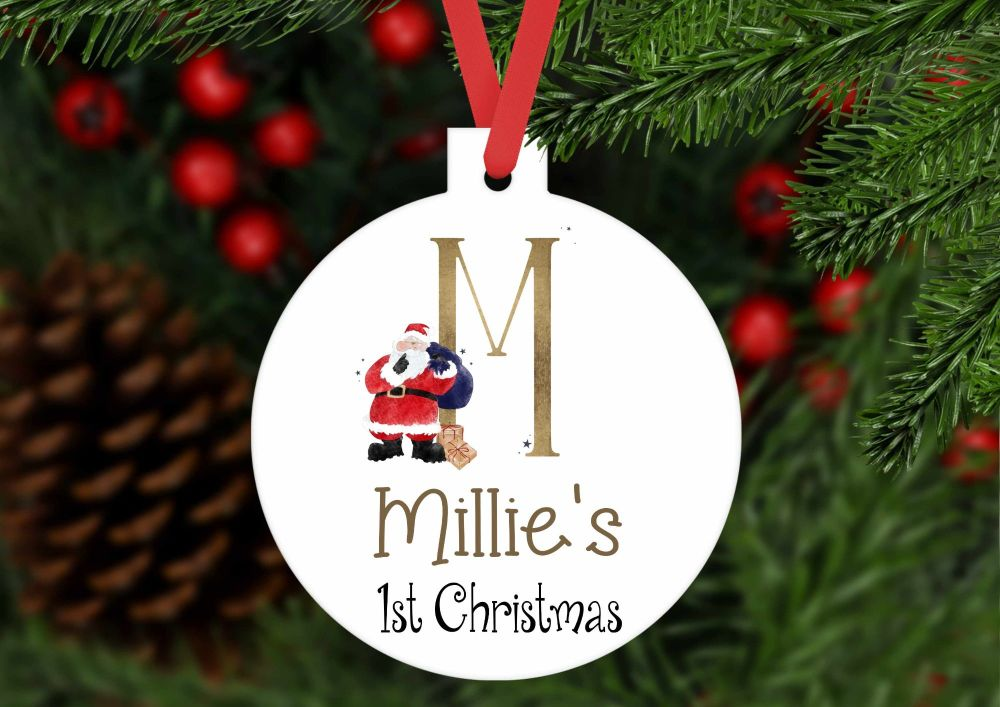 Bauble - Personalised first Christmas Santa bauble shaped ornament