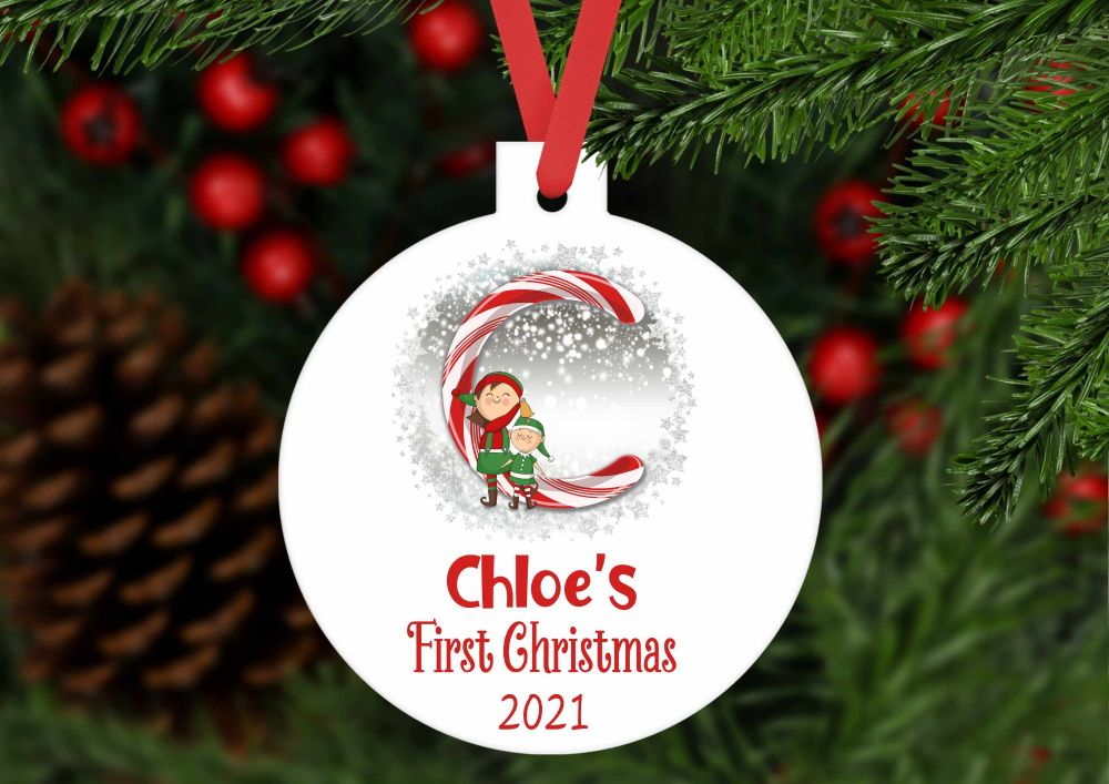 Bauble - Personalised first Christmas Candy Cane bauble shaped ornament