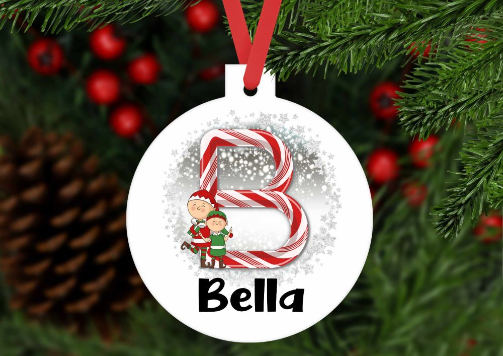 Bauble - Personalised Christmas Candy Cane bauble shaped ornament