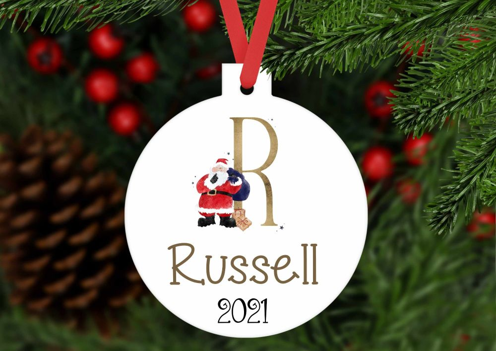 Bauble - Personalised Christmas Santa bauble shaped ornament