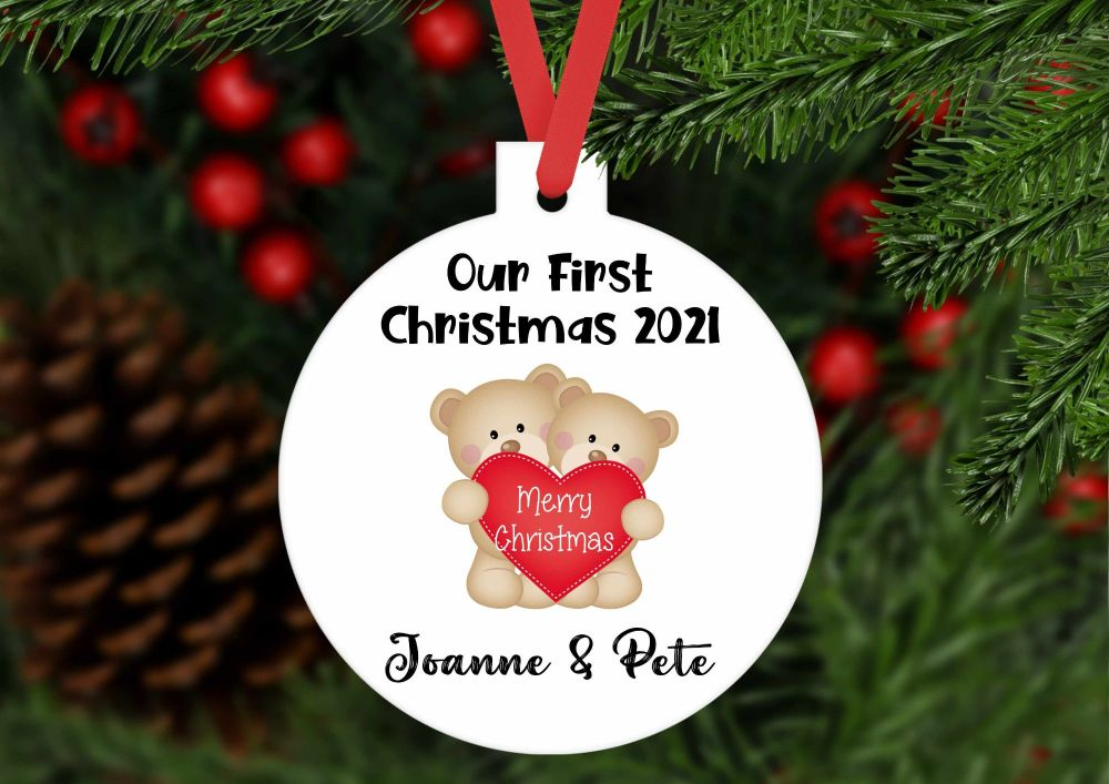 Bauble - Personalised Our First Christmas teddy bear bauble shaped ornament